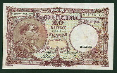 Belgium 20 Francs #111, Sharp VF/EF Note, Nice Color 1002-12