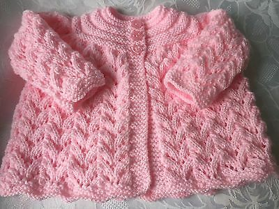 Hand Knitted Baby Girls  Pink Shimmer  Matinee cardigan fits 0-3 Months  'NEW'
