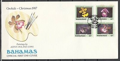 / Bahamas, Scott cat. 636-639. Christmas issue. Orchids in design.