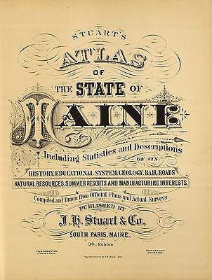 1894 MAINE STATE  GHOST TOWN ATLAS map old GENEALOGY TREASURE history DVD S4