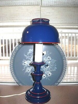 Vintage Dark Navy Blue Tole Desk Table Bedroom Reading Lamp - Red Accent Bands