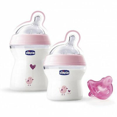 New Chicco Pink Natural Feeling Baby Bottle Gift Set (2 Bottles 1 Soother)