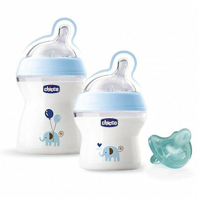New Chicco Blue Natural Feeling Baby Bottle Gift Set (2 Bottles 1 Soother)
