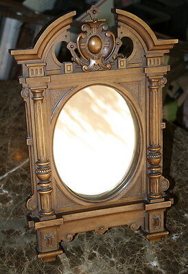 Magnificent 19C German Hand Carved Wooden Mirror, Frame With Stand
