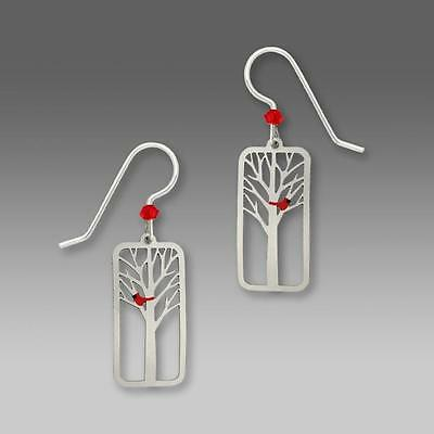 Sienna Sky Earrings Sterling Silver Hook Red Cardinal Bird in a Tree Handmade US