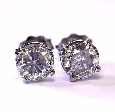 14k white gold I1-I3 I round diamond stud earrings 1.00ct 0.9g estate vintage