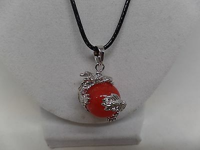 Adorable Dragon Holding Carnelian Bead Necklace! New!