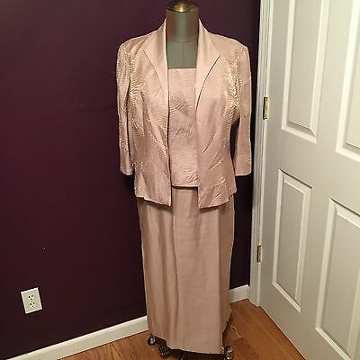 Champagne Gold Mother of the Bride Groom Formal Dress & Jacket Womens Size 16