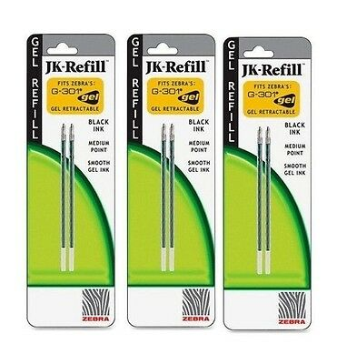 6 ZEBRA JK Refills for G301Gel Rollerball Pens Medium Point, BLACK INK