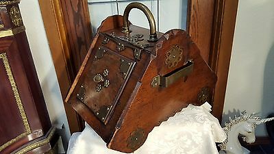 GORGEOUS Antique WOOD Coal Hod ORNATE w TONS Brass Metal Trim All Over!