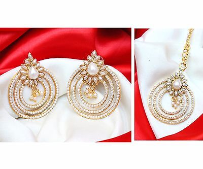 Indian Bollywood Pearl Beads White Maang Tikka Earring Forehead Jewelry Set