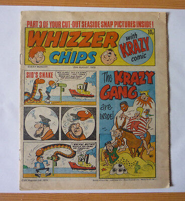 Whizzer And Chips 25 Aug 1979 Issue - British Weekly - Good Condition
