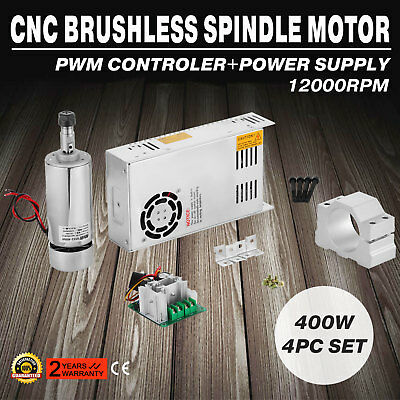 CNC 400W Brushless Spindle Motor 4pcs Set Tool Kit Device 12000RPM EXCELLENT