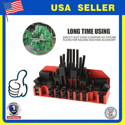 """58pc 5/8"""" Slot 1/2""""-13 Stud HOLD DOWN CLAMP CLAMPING SET KIT BRIDGEPORT MILL SW"""