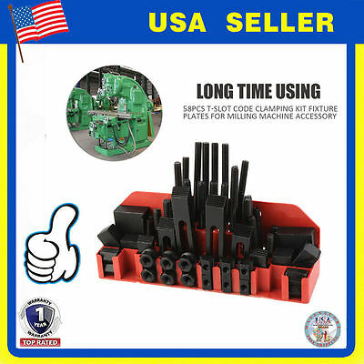 """58pc """" Slot 1/2""""-13 Stud HOLD DOWN CLAMP CLAMPING SET KIT BRIDGEPORT MILL SW"""