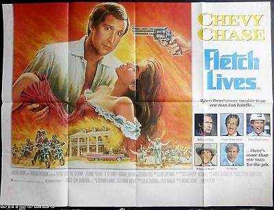 Fletch Lives 1989 Cinema Quad Poster Chevy Chase Julianne Phillips Snl