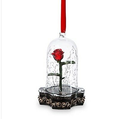 Disney Beauty & The Beast Live Action Film Light Up Enchanted Rose Ornament S/o