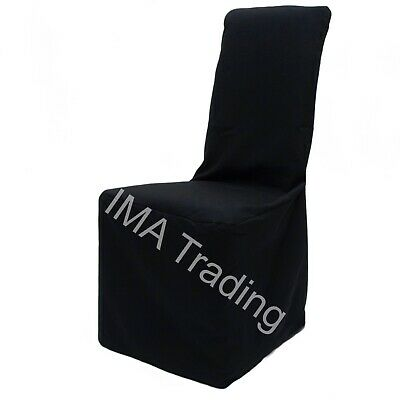 100 Black Square Top Satin Chair Covers Ideal For Any Event Brand New