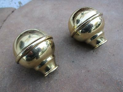 """Furniture Repair Parts Iron Bed 2,25 """" New Old Stock Pair Brass Ball Final Mount"""