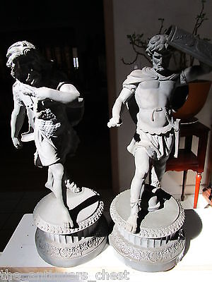 "Antique finial pair of Roman General warriors, 17"", cast iron, very detailed[1st"