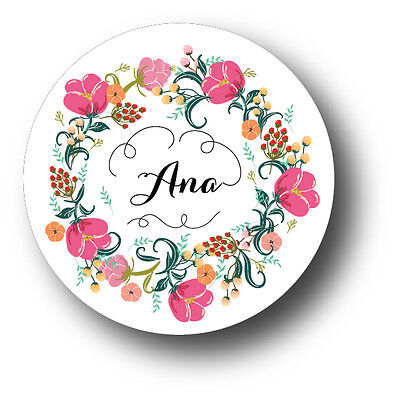 30 Flowers With Name Personalized Baby Shower Favor White Stickers