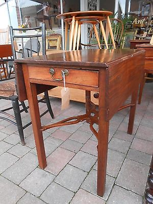 Chippendale Georgian Mahogany Pembroke Table with Pierced Cross Stretcher, C1760