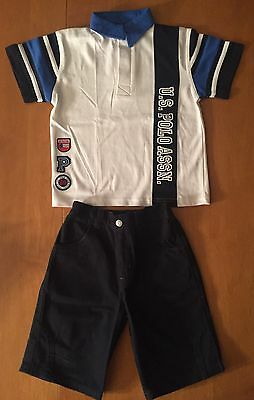 Us Polo Assn Boys 3T Shirt And Navy Jean Shorts - Never Worn
