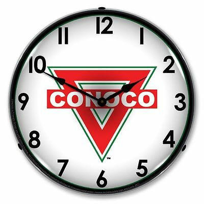 New Conoco Retro  Backlit Lighted Advertising Gas Station Clock - Free Ship*