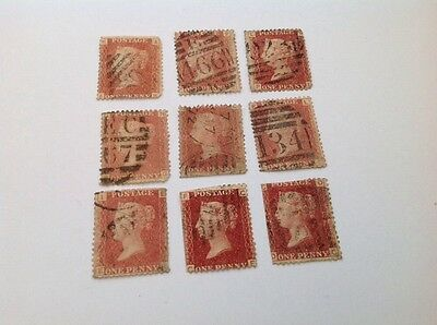 Penny Red Stamps British 9 In Total