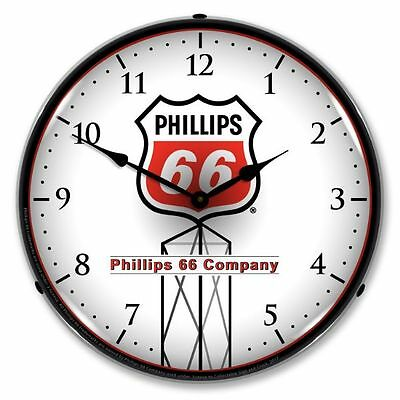 New Phillips 66  (Red)  Backlit Lighted Retro Advertising Clock - Free Ship*