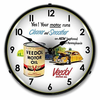 New Veedol Motor Oil Retro Advertising Backlit Lighted Clock - Free Ship*