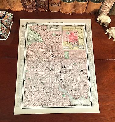 Original 1898 Antique Map BALTIMORE Maryland MD Streets Parks Historic Landmarks