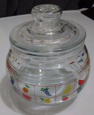 KIG Fruit Print Glass Canister with Lid Made in Indonesia