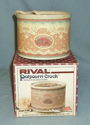 Rival Potpourri Stoneware Crock In Box Pink Rose Lace Pattern Works