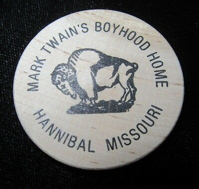 Vintage Wooden Nickel - Mark Twain's Boyhood Home - Hannibal Missouri