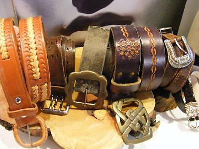 Lot of 6 1960s/70s Vintage Distressed LEATHER BELTS & Buckles SNAP Wear CRAFTS