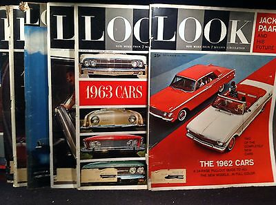 1960's ANNUAL CAR GUIDE ISSUES from LOOK MAGAZINE - LOT OF 8 YEARS