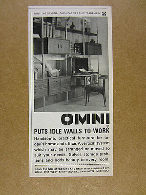1964 Omni Wall System shelving furniture photo vintage print Ad