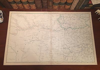 Original Antique Civil War Map KANSAS MISSOURI Topeka Olathe KS Independence MO