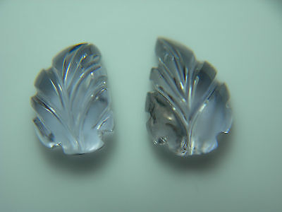 2 carved IOLITE gem LEAVES Gemmy Natural Untreated Carving leaf India pair 2.89c