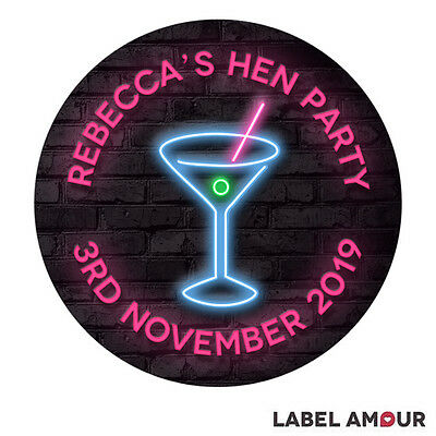 Personalised Hen Party Night Do Neon Cocktail Bar Seals Labels Stickers 3 sizes