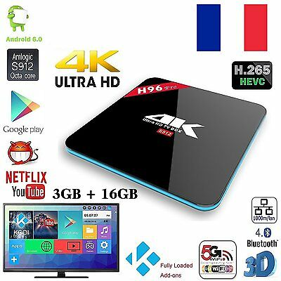 Android 6.0 H96 Pro 3GB 16GB Octa-Core WIFI IPTV 4K Smart TV Box HD FULL LOADED