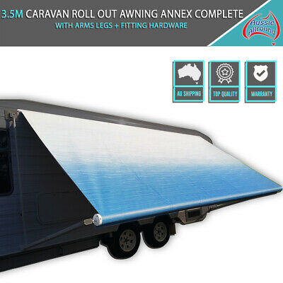 3.5M Caravan Roll Out Awning Annex Complete With Legs Arms + Fitting Hardware