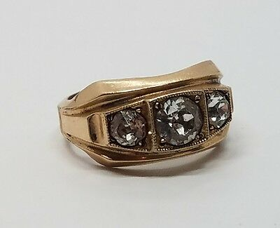 Vintage Antique Ary Deco Gold Filled Crystal Mens Ring Size 9.25