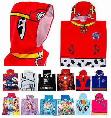 Kids Boys Girls Character Poncho Hooded Swimming Beach Bath Towel Summer Holiday