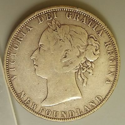 1899  Wide 9's Newfoundland Canada 50 Cent Old Silver Canadian Victoria Coin