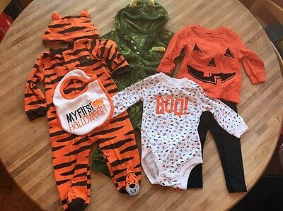 LOT#18 Carter's Unisex Halloween Baby Clothes. Size 9 Months. 7 Pieces