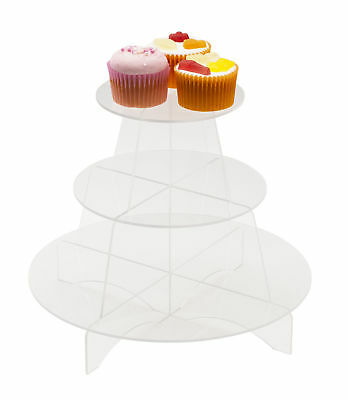 3 Tier Acrylic Cupcake Display Stand Round Shelves Cake Party Holder