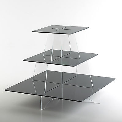 Cupcake Stand Square Shelves Acrylic Party Cake Display Holder 3 Tier