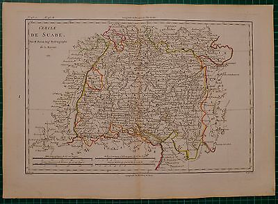 1787 Dated Rigobert Bonne Map ~ Circle Of Suabe Wurtemberg Hand Coloured